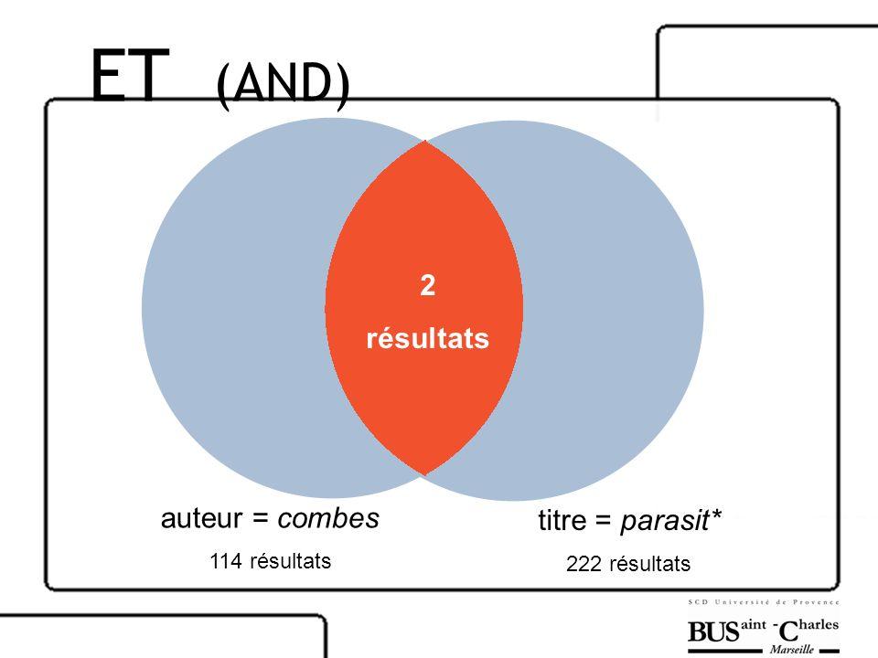 auteur = combes 114 résultats titre = parasit* 222 résultats 2 résultats ET (AND)