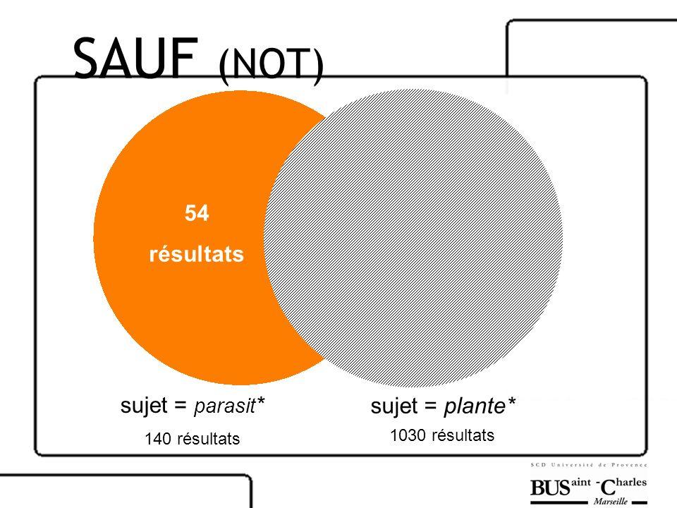 sujet = parasit * 140 résultats sujet = plante* 1030 résultats 54 résultats SAUF (NOT)