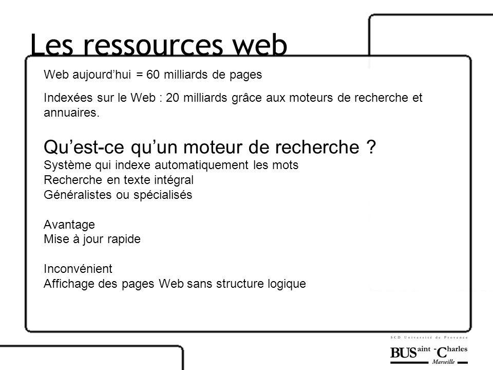 Les ressources web Web aujourdhui = 60 milliards de pages Indexées sur le Web : 20 milliards grâce aux moteurs de recherche et annuaires. Quest-ce quu