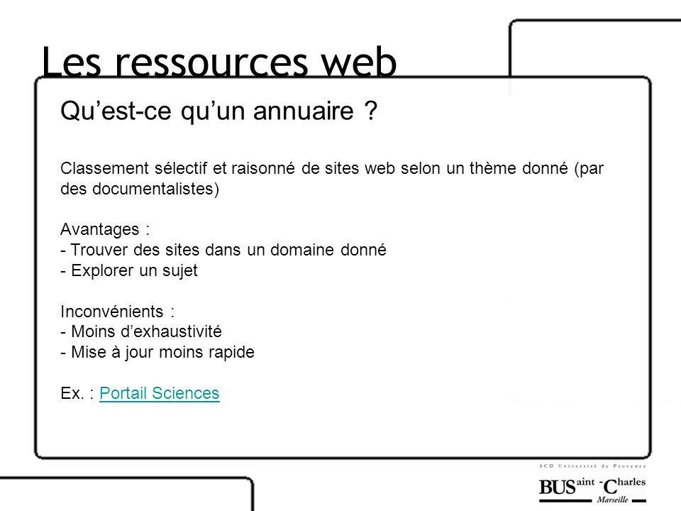 Les ressources web Quest-ce quun annuaire ? Classement sélectif et raisonné de sites web selon un thème donné (par des documentalistes) Avantages : -