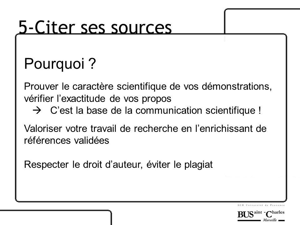 5-Citer ses sources Pourquoi ? Prouver le caractère scientifique de vos démonstrations, vérifier lexactitude de vos propos Cest la base de la communic