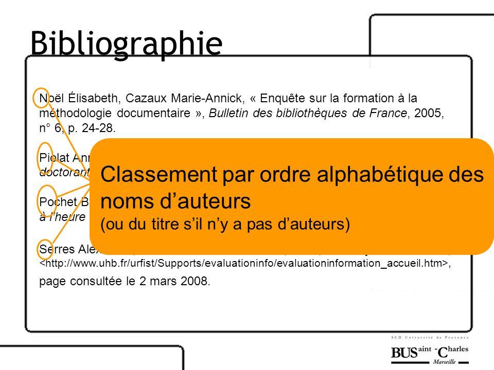 Bibliographie Noël Élisabeth, Cazaux Marie-Annick, « Enquête sur la formation à la méthodologie documentaire », Bulletin des bibliothèques de France,