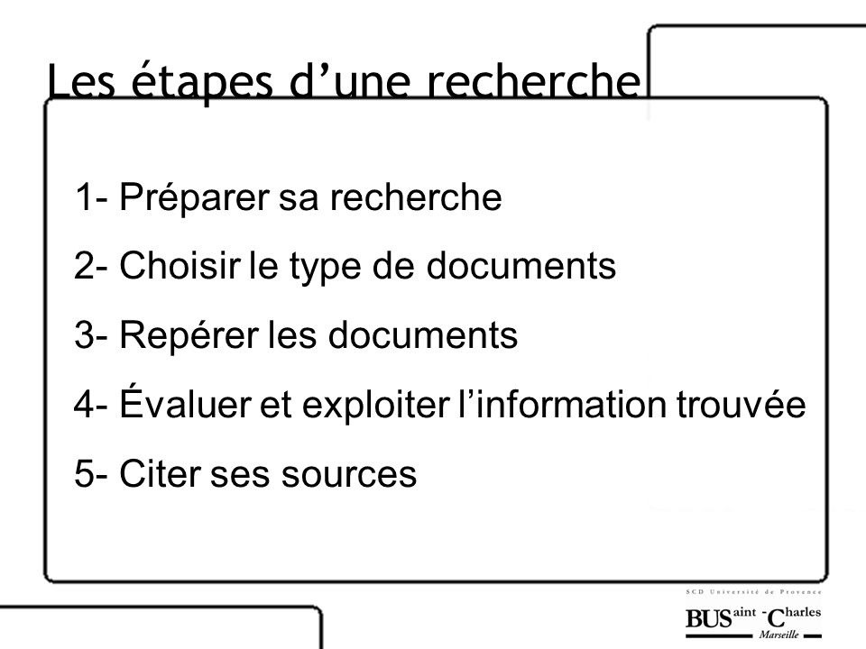 Les étapes dune recherche 1- Préparer sa recherche 2- Choisir le type de documents 3- Repérer les documents 4- Évaluer et exploiter linformation trouv