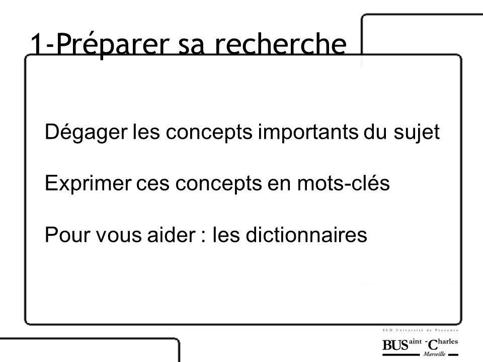 1-Préparer sa recherche Dégager les concepts importants du sujet Exprimer ces concepts en mots-clés Pour vous aider : les dictionnaires