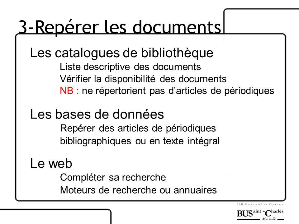 3-Repérer les documents Les catalogues de bibliothèque Liste descriptive des documents Vérifier la disponibilité des documents NB : ne répertorient pa