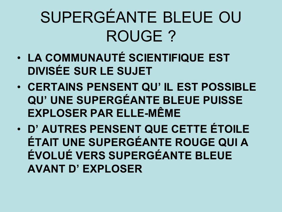 SUPERGÉANTE BLEUE OU ROUGE .