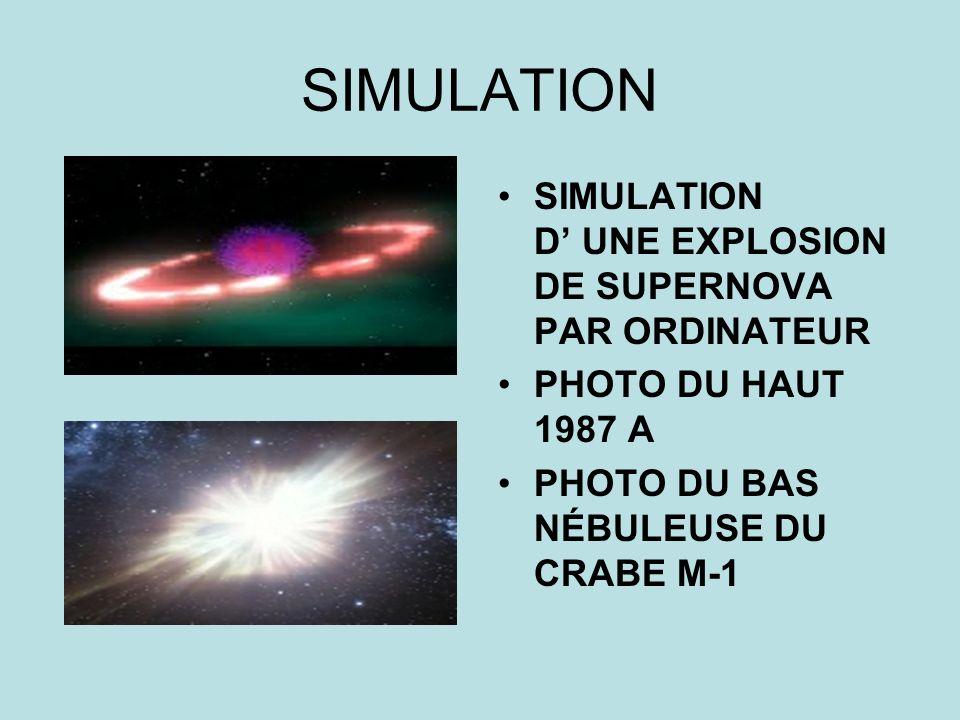 SIMULATION SIMULATION D UNE EXPLOSION DE SUPERNOVA PAR ORDINATEUR PHOTO DU HAUT 1987 A PHOTO DU BAS NÉBULEUSE DU CRABE M-1