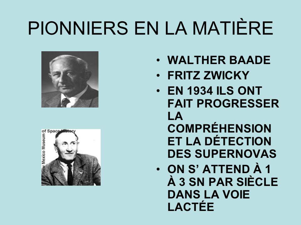 PIONNIERS EN LA MATIÈRE WALTHER BAADE FRITZ ZWICKY EN 1934 ILS ONT FAIT PROGRESSER LA COMPRÉHENSION ET LA DÉTECTION DES SUPERNOVAS ON S ATTEND À 1 À 3