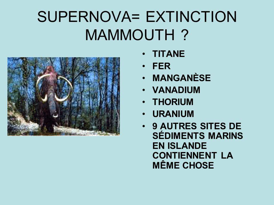SUPERNOVA= EXTINCTION MAMMOUTH ? TITANE FER MANGANÈSE VANADIUM THORIUM URANIUM 9 AUTRES SITES DE SÉDIMENTS MARINS EN ISLANDE CONTIENNENT LA MÊME CHOSE