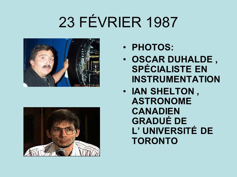 23 FÉVRIER 1987 PHOTOS: OSCAR DUHALDE, SPÉCIALISTE EN INSTRUMENTATION IAN SHELTON, ASTRONOME CANADIEN GRADUÉ DE L UNIVERSITÉ DE TORONTO