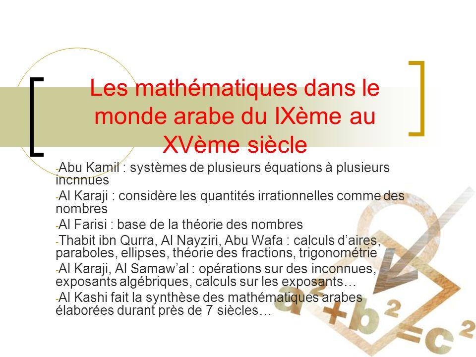 Les mathématiques dans le monde arabe du IXème au XVème siècle - Abu Kamil : systèmes de plusieurs équations à plusieurs incnnues - Al Karaji : considère les quantités irrationnelles comme des nombres - Al Farisi : base de la théorie des nombres - Thabit ibn Qurra, Al Nayziri, Abu Wafa : calculs daires, paraboles, ellipses, théorie des fractions, trigonométrie - Al Karaji, Al Samawal : opérations sur des inconnues, exposants algébriques, calculs sur les exposants… - Al Kashi fait la synthèse des mathématiques arabes élaborées durant près de 7 siècles…