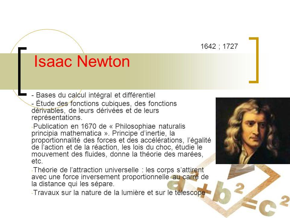 Isaac Newton - Bases du calcul intégral et différentiel - Étude des fonctions cubiques, des fonctions dérivables, de leurs dérivées et de leurs représentations.