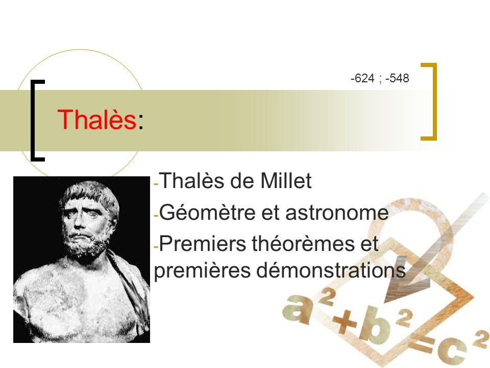 Thalès: - Thalès de Millet - Géomètre et astronome - Premiers théorèmes et premières démonstrations -624 ; -548