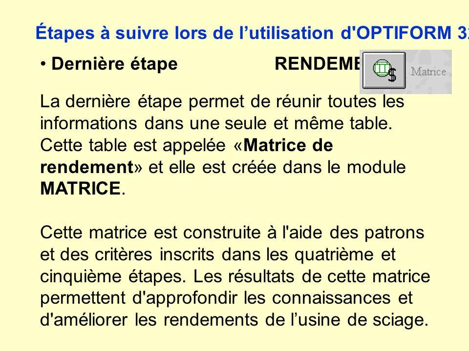 Dernière étape RENDEMENT La dernière étape permet de réunir toutes les informations dans une seule et même table. Cette table est appelée «Matrice de