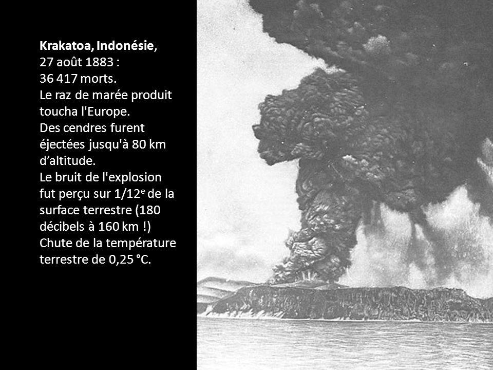 Krakatoa, Indonésie, 27 août 1883 : 36 417 morts. Le raz de marée produit toucha l'Europe. Des cendres furent éjectées jusqu'à 80 km daltitude. Le bru