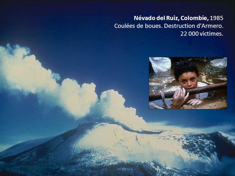 Névado del Ruiz, Colombie, 1985 Coulées de boues. Destruction d'Armero. 22 000 victimes.