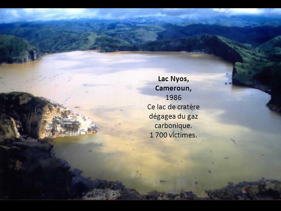 Lac Nyos, Cameroun, 1986 Ce lac de cratère dégagea du gaz carbonique. 1 700 victimes.