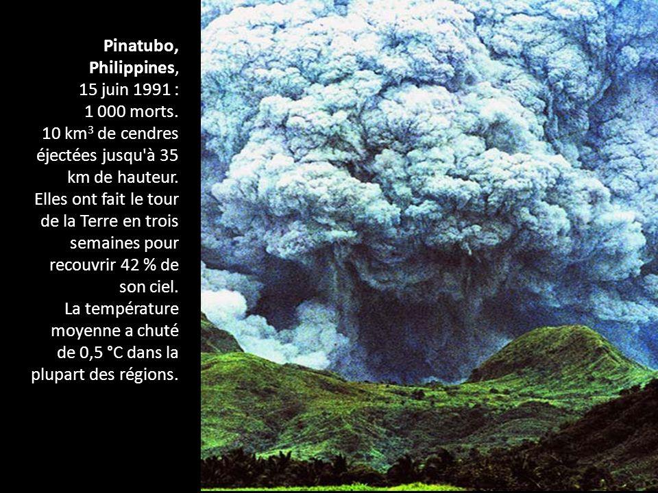 Pinatubo, Philippines, 15 juin 1991 : 1 000 morts. 10 km 3 de cendres éjectées jusqu'à 35 km de hauteur. Elles ont fait le tour de la Terre en trois s