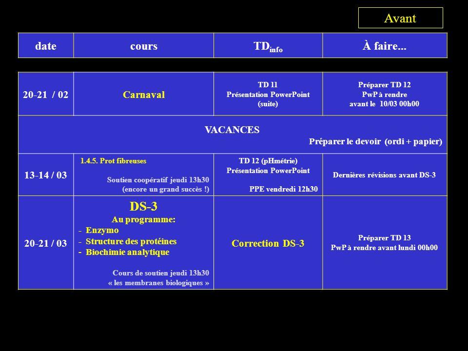 datecoursTD info À faire... 20-21 / 02Carnaval TD 11 Présentation PowerPoint (suite) Préparer TD 12 PwP à rendre avant le 10/03 00h00 VACANCES Prépare