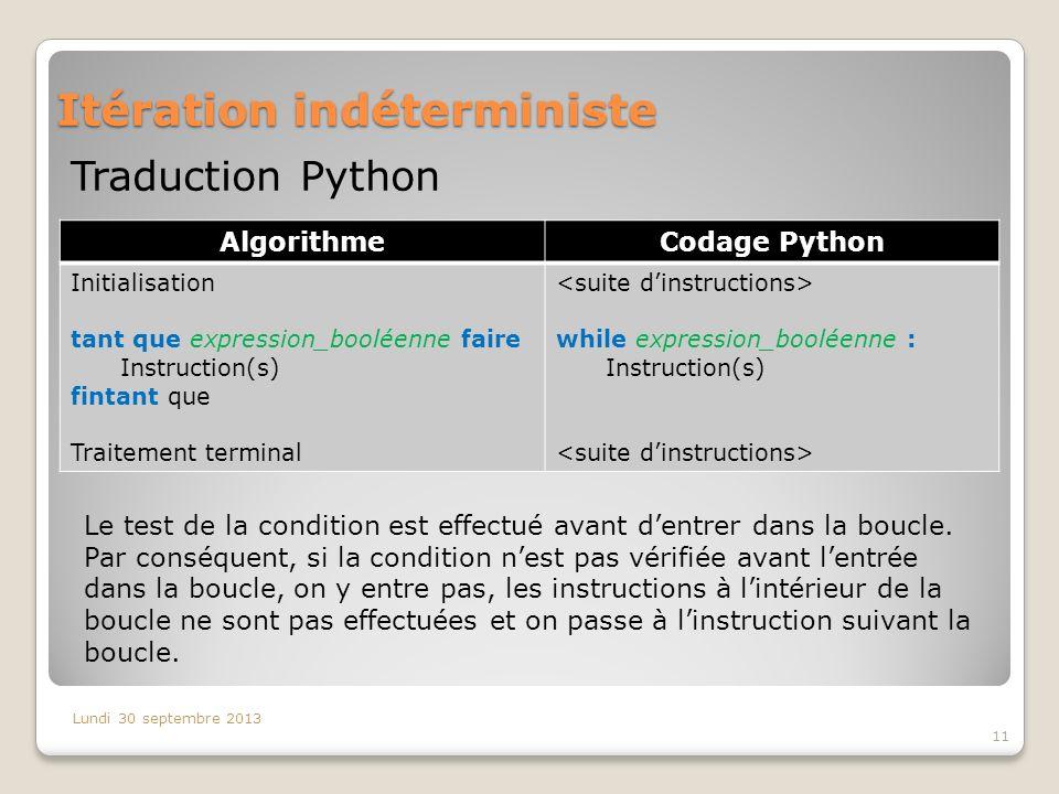 Itération indéterministe Lundi 30 septembre 2013 11 Traduction Python AlgorithmeCodage Python Initialisation tant que expression_booléenne faire Instr