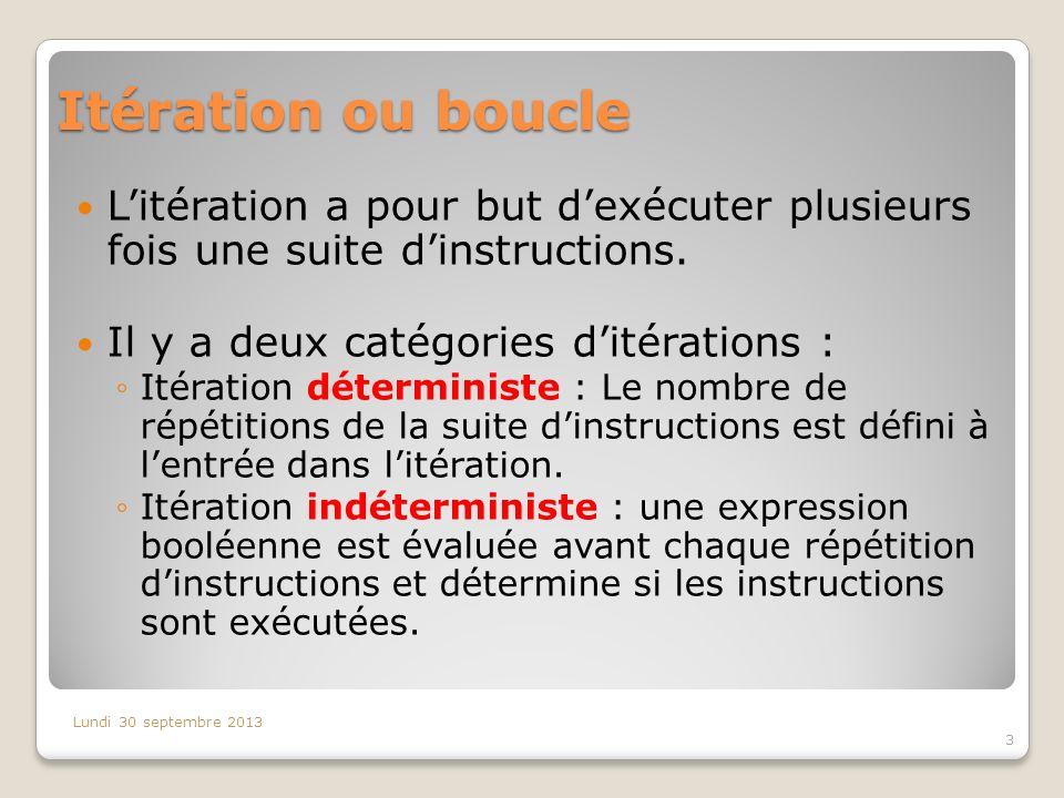 Itération ou boucle Litération a pour but dexécuter plusieurs fois une suite dinstructions. Il y a deux catégories ditérations : Itération déterminist