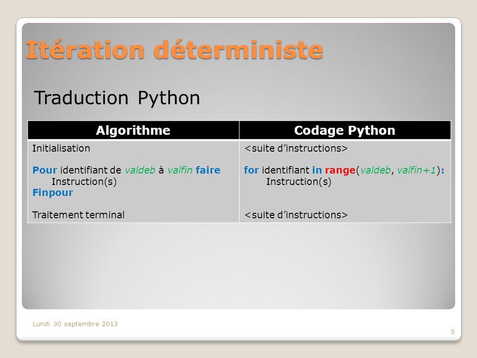 Itération déterministe Traduction Python Lundi 30 septembre 2013 5 AlgorithmeCodage Python Initialisation Pour identifiant de valdeb à valfin faire In