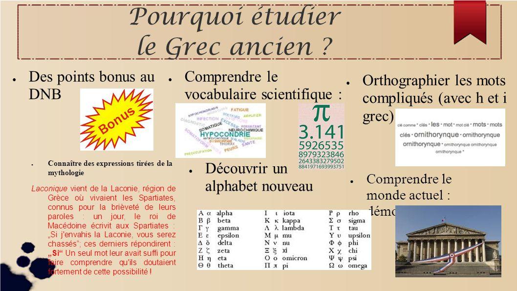 Pourquoi étudier le Grec ancien ? Des points bonus au DNB Comprendre le vocabulaire scientifique : Orthographier les mots compliqués (avec h et i grec