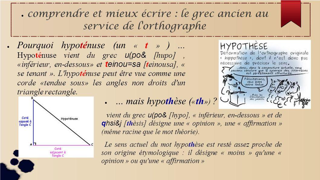 comprendre et mieux écrire : le grec ancien au service de l'orthographe Pourquoi hypoténuse (un « t » )... Hypoténuse vient du grec u(po& [hupo], «inf