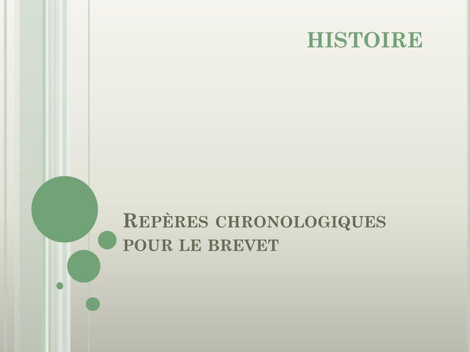 R EPÈRES CHRONOLOGIQUES POUR LE BREVET HISTOIRE