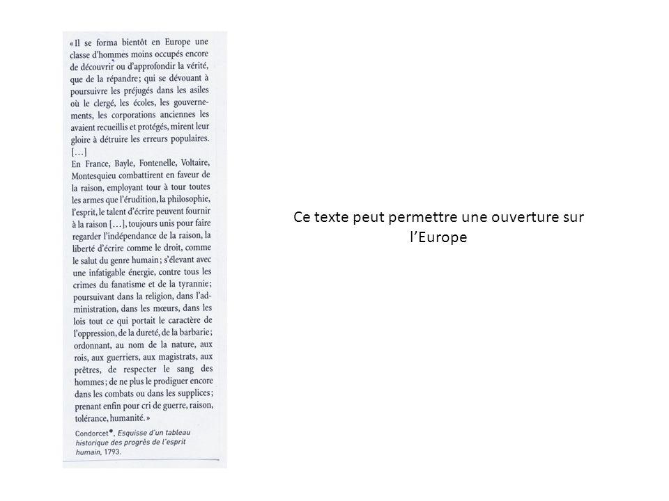 Ce texte peut permettre une ouverture sur lEurope