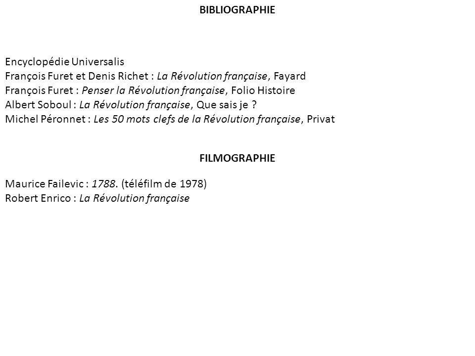 BIBLIOGRAPHIE Encyclopédie Universalis François Furet et Denis Richet : La Révolution française, Fayard François Furet : Penser la Révolution français