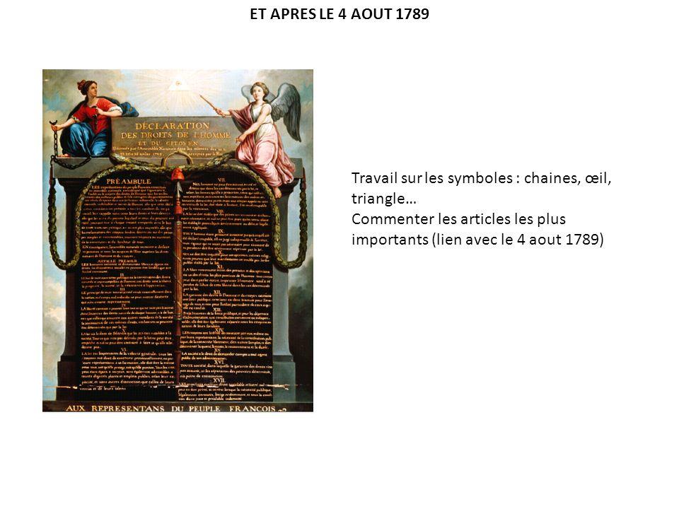 AVANT ET APRES LE 4 AOUT 1789 : CONCLUSION Caricature de la période 1788-1789.