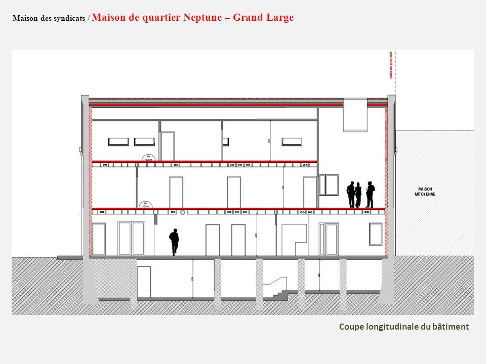 Maison des syndicats / Maison de quartier Neptune – Grand Large Coupe longitudinale du bâtiment