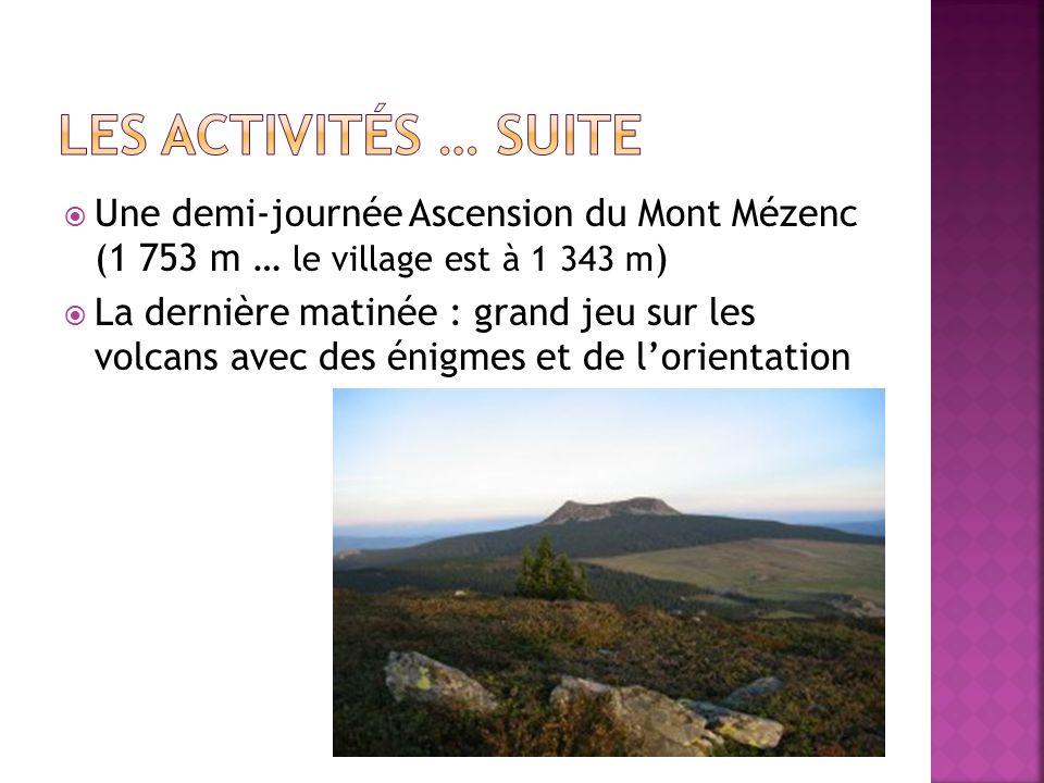 Une demi-journée Ascension du Mont Mézenc (1 753 m … le village est à 1 343 m ) La dernière matinée : grand jeu sur les volcans avec des énigmes et de