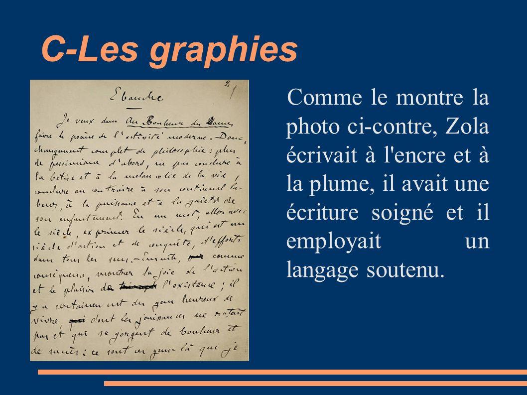 C-Les graphies Comme le montre la photo ci-contre, Zola écrivait à l'encre et à la plume, il avait une écriture soigné et il employait un langage sout
