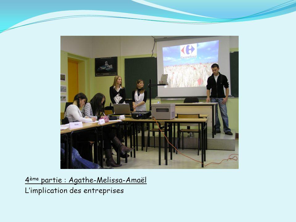 4 ème partie : Agathe-Melissa-Amaël Limplication des entreprises