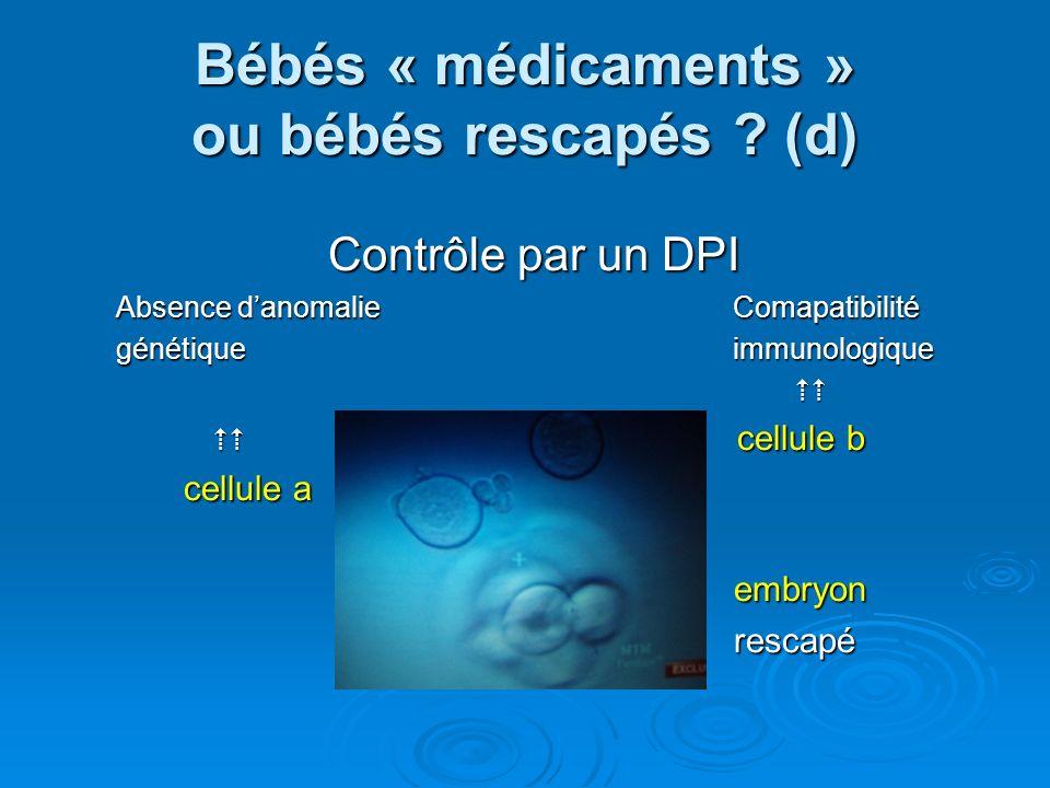 Bébés « médicaments » ou bébés rescapés .