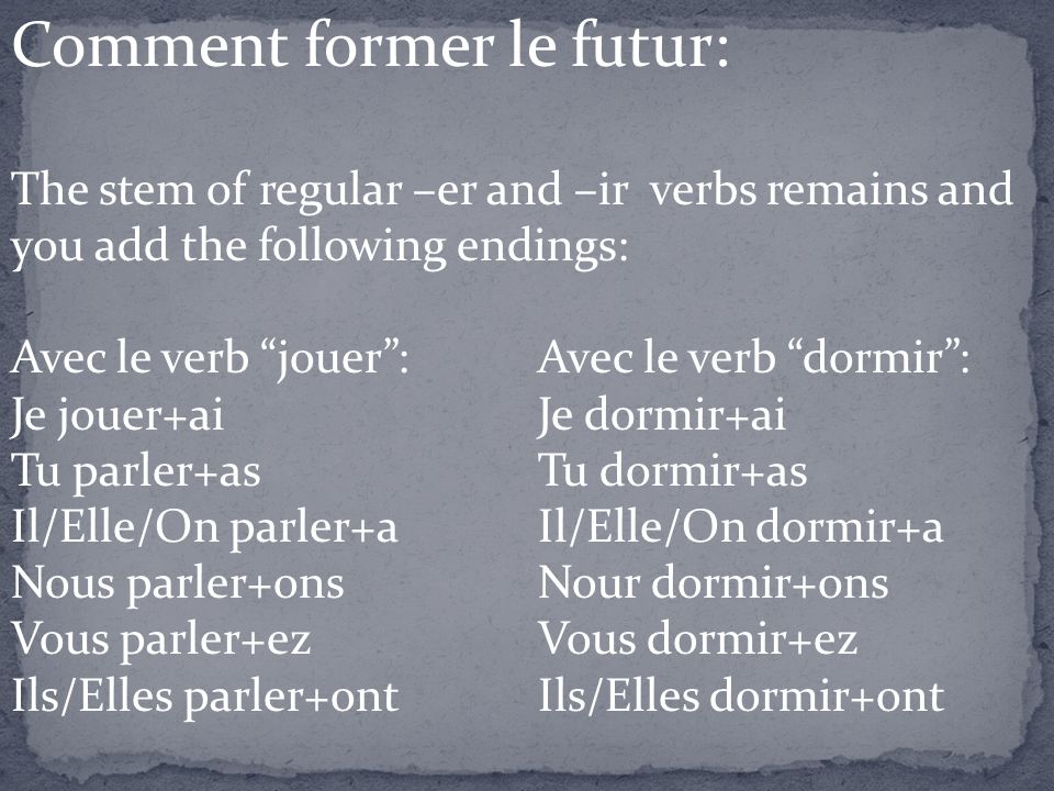 Comment former le futur: The stem of regular –er and –ir verbs remains and you add the following endings: Avec le verb jouer:Avec le verb dormir: Je j