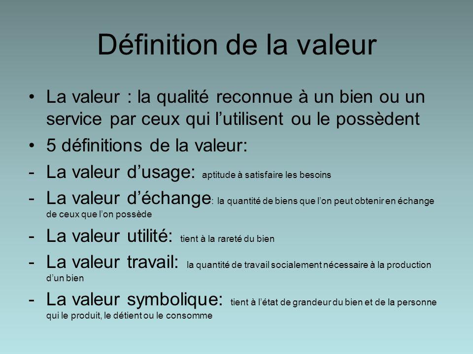 Définition de la valeur La valeur : la qualité reconnue à un bien ou un service par ceux qui lutilisent ou le possèdent 5 définitions de la valeur: -La valeur dusage: aptitude à satisfaire les besoins -La valeur déchange : la quantité de biens que lon peut obtenir en échange de ceux que lon possède -La valeur utilité: tient à la rareté du bien -La valeur travail: la quantité de travail socialement nécessaire à la production dun bien -La valeur symbolique: tient à létat de grandeur du bien et de la personne qui le produit, le détient ou le consomme