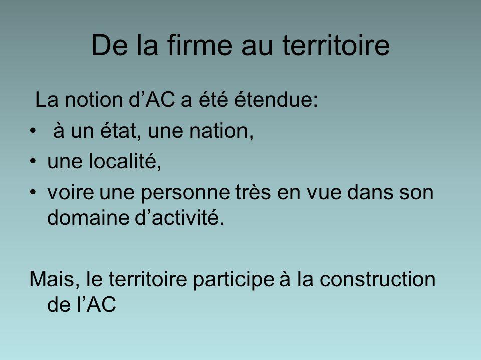 De la firme au territoire La notion dAC a été étendue: à un état, une nation, une localité, voire une personne très en vue dans son domaine dactivité.