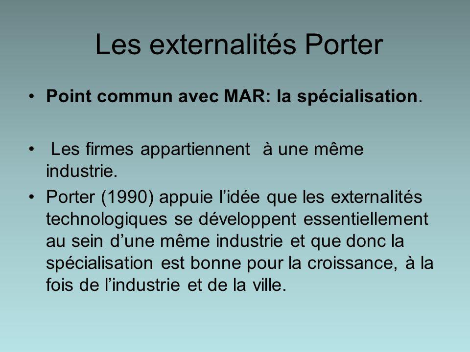 Les externalités Porter Point commun avec MAR: la spécialisation.