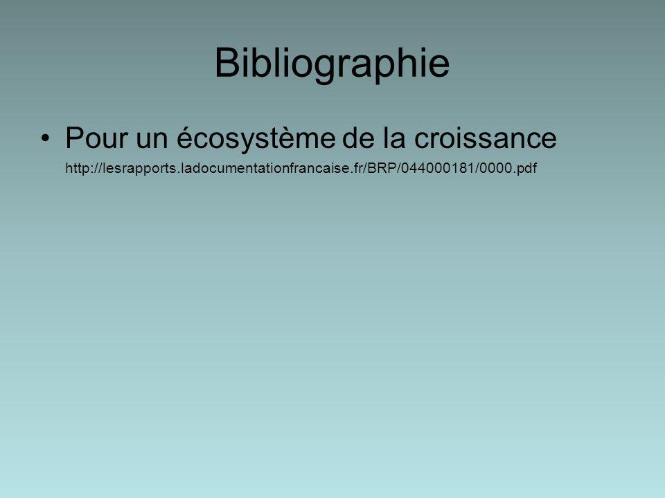 Bibliographie Pour un écosystème de la croissance http://lesrapports.ladocumentationfrancaise.fr/BRP/044000181/0000.pdf