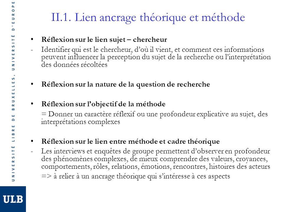 II.1. Lien ancrage théorique et méthode Réflexion sur le lien sujet – chercheur -Identifier qui est le chercheur, doù il vient, et comment ces informa