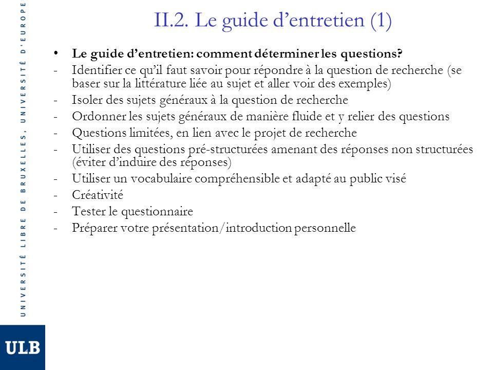 II.2. Le guide dentretien (1) Le guide dentretien: comment déterminer les questions? -Identifier ce quil faut savoir pour répondre à la question de re