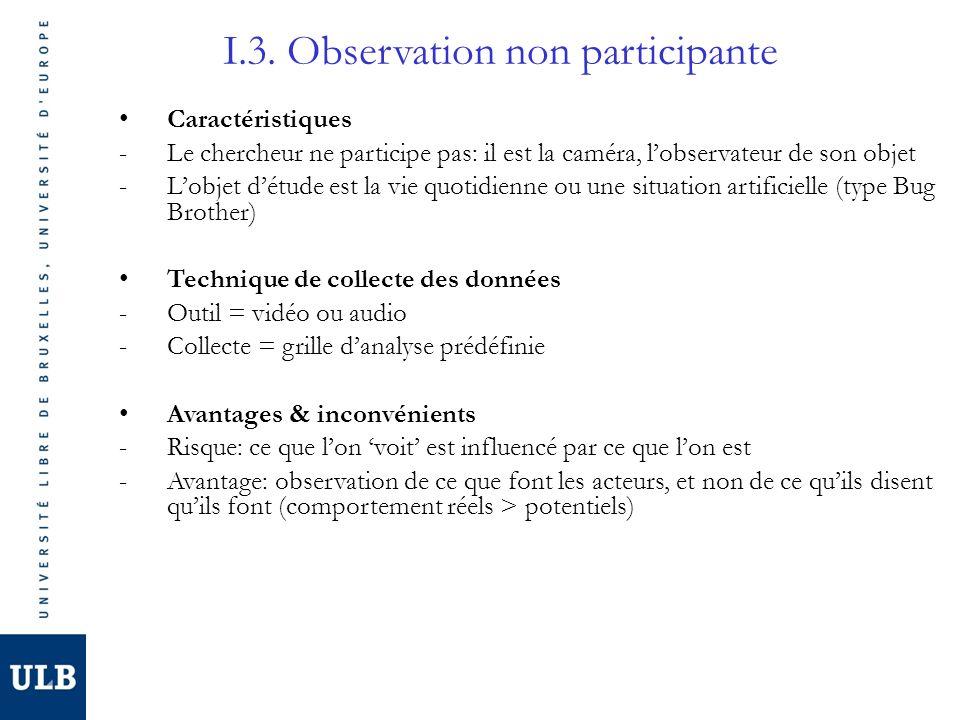 I.3. Observation non participante Caractéristiques -Le chercheur ne participe pas: il est la caméra, lobservateur de son objet -Lobjet détude est la v