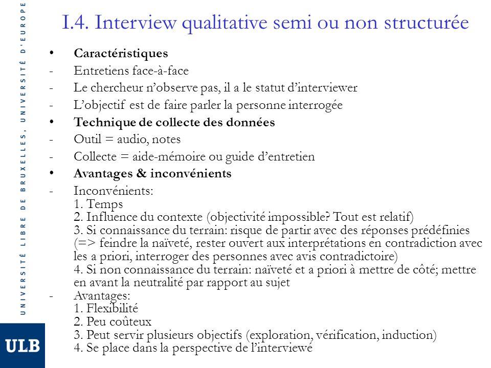 I.4. Interview qualitative semi ou non structurée Caractéristiques -Entretiens face-à-face -Le chercheur nobserve pas, il a le statut dinterviewer -Lo