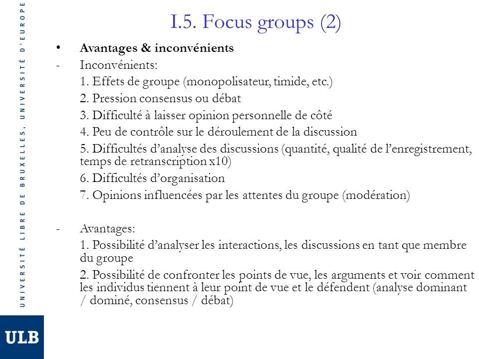 I.5. Focus groups (2) Avantages & inconvénients -Inconvénients: 1. Effets de groupe (monopolisateur, timide, etc.) 2. Pression consensus ou débat 3. D