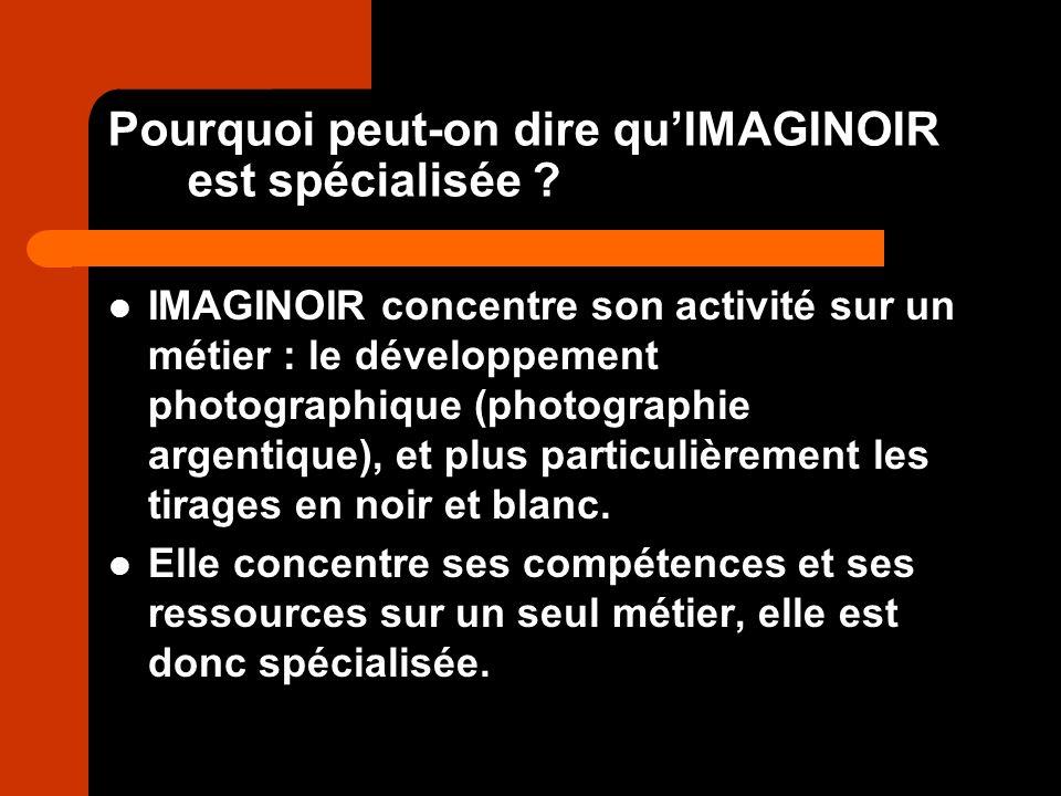 Pourquoi peut-on dire quIMAGINOIR est spécialisée ? IMAGINOIR concentre son activité sur un métier : le développement photographique (photographie arg