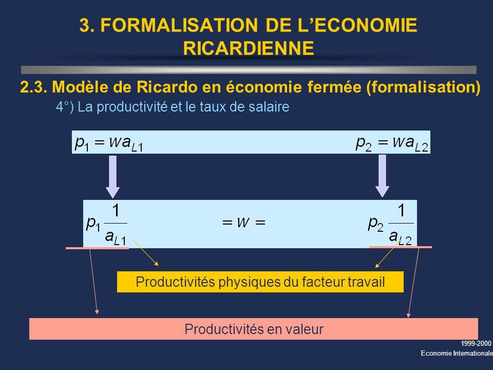 1999-2000 Economie Internationale 3. FORMALISATION DE LECONOMIE RICARDIENNE 2.3. Modèle de Ricardo en économie fermée (formalisation) 4°) La productiv