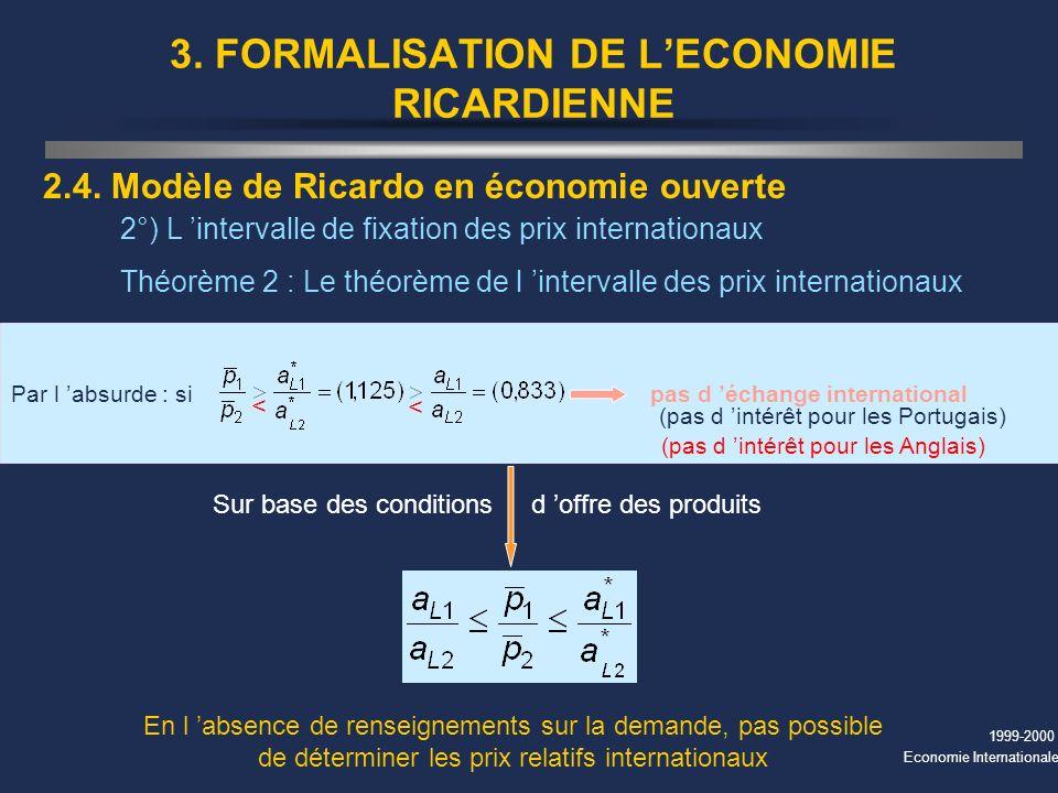 1999-2000 Economie Internationale 3. FORMALISATION DE LECONOMIE RICARDIENNE 2.4. Modèle de Ricardo en économie ouverte 2°) L intervalle de fixation de